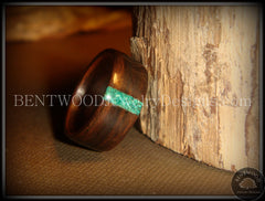 Bentwood Ring - Macassar Ebony Wood Ring and Transverse Malachite Inlay - Bentwood Jewelry Designs - Custom Handcrafted Bentwood Wood Rings  - 1