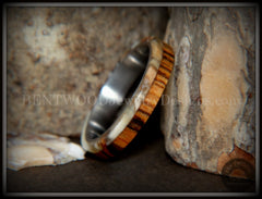 Bentwood Ring - Mammoth Ivory and Goncalo Alves on Titanium Core - Bentwood Jewelry Designs - Custom Handcrafted Bentwood Wood Rings
