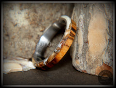"Bentwood Ring - ""Mammoth"" Fossil and Goncalo Alves on Titanium Core handcrafted bentwood wooden rings wood wedding ring engagement"