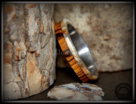 "Bentwood Ring - ""Mammoth"" Fossil and Goncalo Alves on Titanium Core"