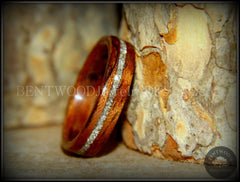 Bentwood Ring - Bubinga Wooden Ring with Silver Glass Inlay - Bentwood Jewelry Designs - Custom Handcrafted Bentwood Wood Rings  - 2