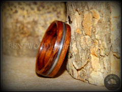 Bentwood Ring - Waterfall Bubinga Wood Ring with Silver Electric Guitar String Inlay - Bentwood Jewelry Designs - Custom Handcrafted Bentwood Wood Rings  - 2