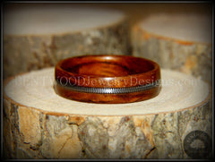 Bentwood Ring - Waterfall Bubinga Wood Ring with Silver Electric Guitar String Inlay - Bentwood Jewelry Designs - Custom Handcrafted Bentwood Wood Rings  - 3