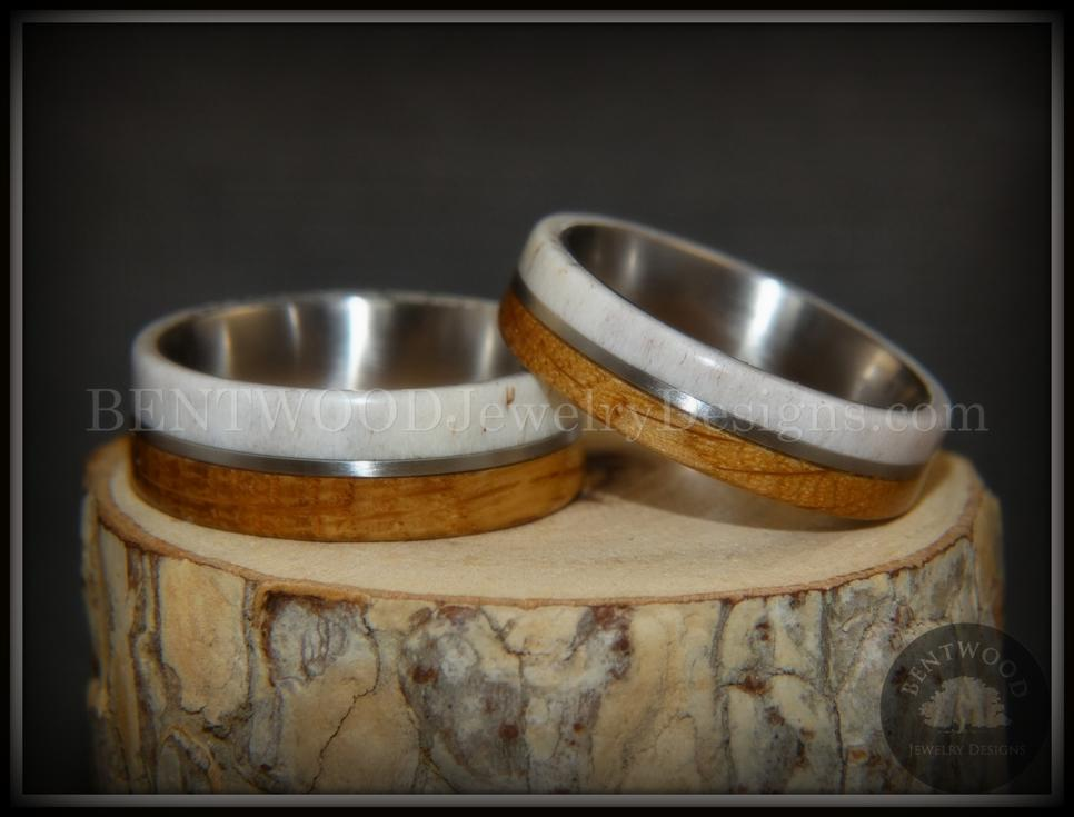 Bentwood rings set antler whiskey barrel oak titanium inlay
