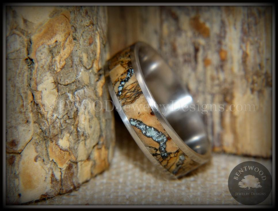 Wood engagement wedding ring turquoise rosewood