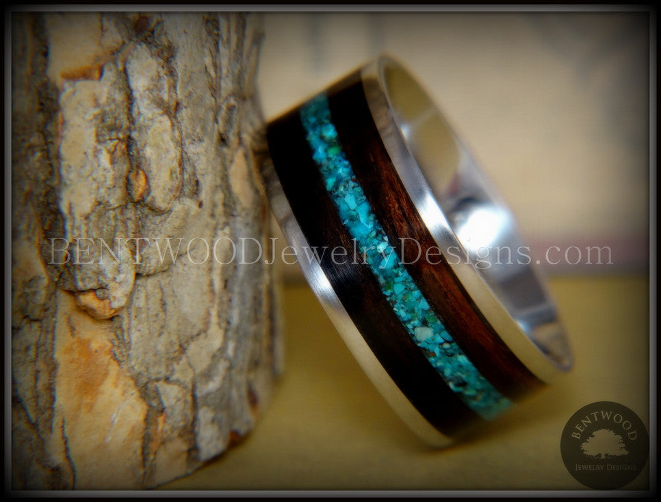 Bentwood Wooden Ring Macassar Ebony Wood Ring Offset Chrysocolla Inlay