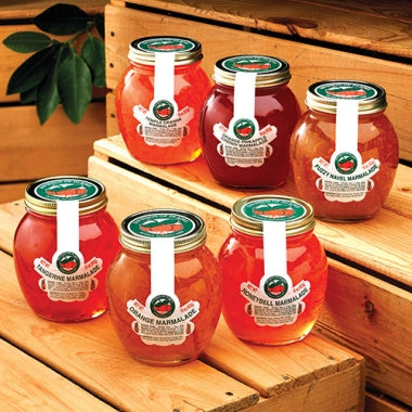 6 8 oz. Jars - Tangerine, Orange, HoneyBell, Orange-Pineapple-Cherry, Temple Orange, Fuzzy Navel Maralades