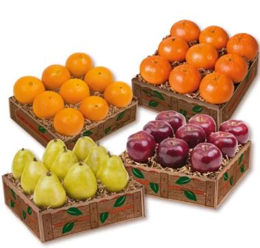 4 Fruit Trays Florida Oranges, Red Delicious Apples, d'Anjou Pears, Florida Tangelos