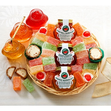 Assorted Juice Candies, Pecan Log Roll Slices, Pecan Orangettes, Candied Cherries, Orange-Pineapple- Cherry and Orange Marmalade