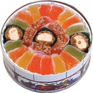 Orange, Lemon, Key Lime & Tangerine Juice Candies, Pecan Log Roll Slices, Pecan Orangettes, Keepsake Tin