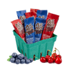cherry and blueberry chocolate basket