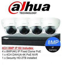 Load image into Gallery viewer, Dahua Camera, 4 x 8MP Starlight Dome Bundle Kit with 4ch NVR+ 2TB HDD - CCTVMasters.com.au