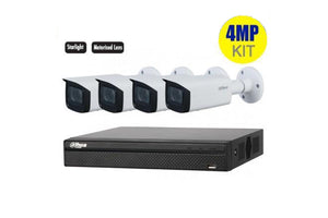"Dahua 4 x 4MP Motorized Bullet Bundle Kit with 4CH NVR + 2TB HDD Kit includes: 1 x 4ch NVR4104HS-P-4KS2 1 x Surveillance HD-2TB installed 4 x Motorized Bullet HFW2431TP-ZS-27135-S2 Features: 4MP, 1/3"" CMOS image sensor, low illuminance, Built-in IR LED, max IR distance 60m Intelligent detection: Intrusion"