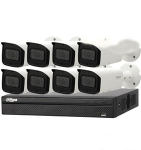 Dahua Camera, 8 x 8MP Bullet Camera Motorized Kit with 8ch NVR+ 2TB HDD - CCTVMasters.com.au