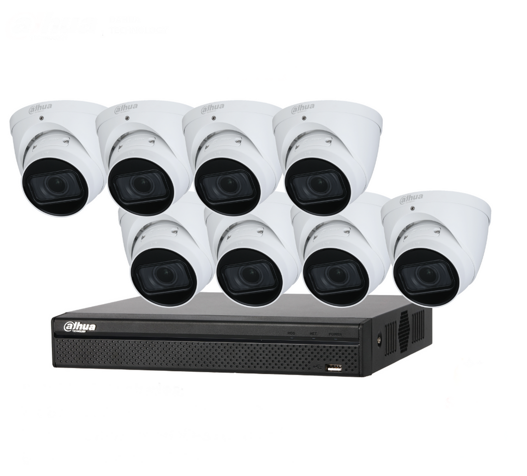 Dahua Camera, 8 x 4MP IP Motorized Turret Bundle Kit with 8ch NVR+ 2TB HDD - CCTVMasters.com.au