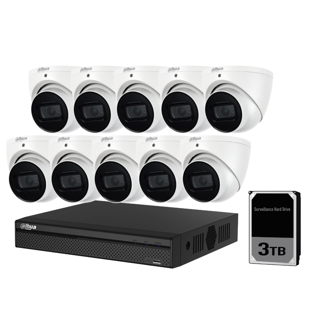 Dahua Camera, 10 x 8MP Turret Bundle Kit with 16CH NVR Pro + 3TB HDD