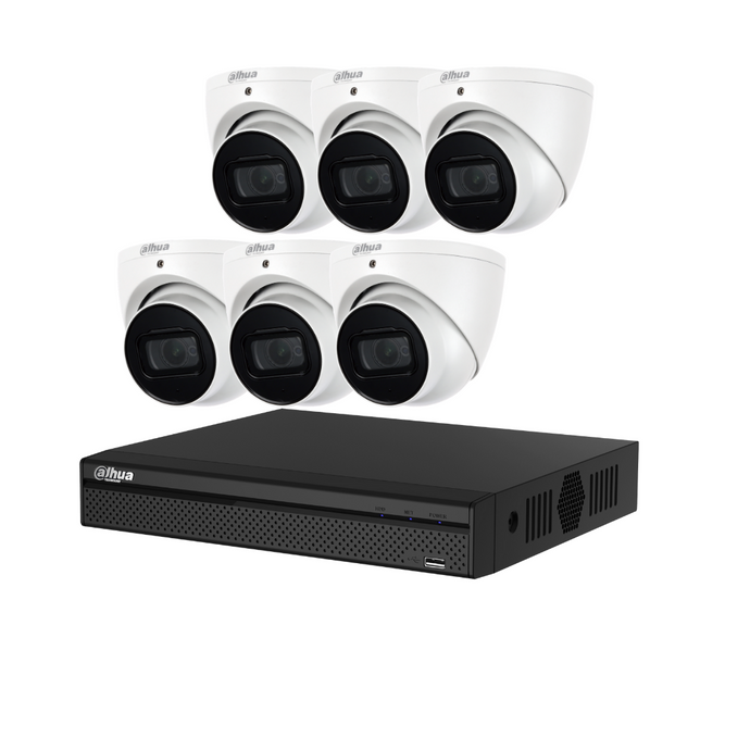 Dahua Camera, 6 x 4MP Full Metal Turret Bundle Kit with 8CH NVR + 2TB HDD