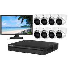 "Load image into Gallery viewer, Dahua Camera, 8 x 8MP Lite IR Turret Bundle Kit with 8CH NVR Pro + 3TB HDD + 22"" LED Monitor"