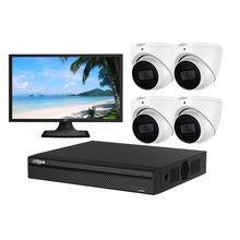 "Load image into Gallery viewer, Dahua Camera, 4 x 8MP Lite IR Turret Bundle Kit with 8CH NVR Pro + 3TB HDD + 22"" LED Monitor"