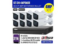 Load image into Gallery viewer, 4MP DAHUA 8CH IP MOTORISED BULLET BUNDLE KIT