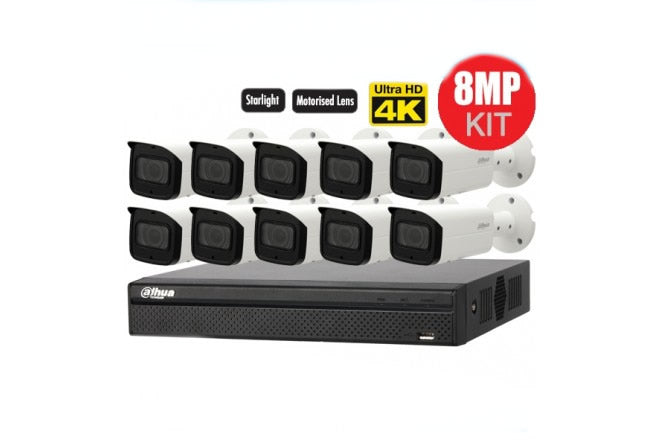 Dahua Camera, 10 x  8MP mini Bullet Camera Kit with 16CH NVR + 3TB HDD - CCTVMasters.com.au