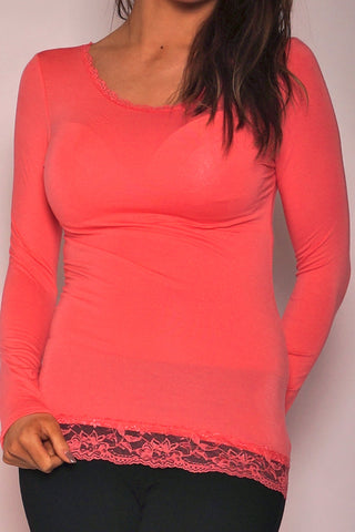 EKSTRA NEDSAT - Sleeved Lace Blouse - Coral