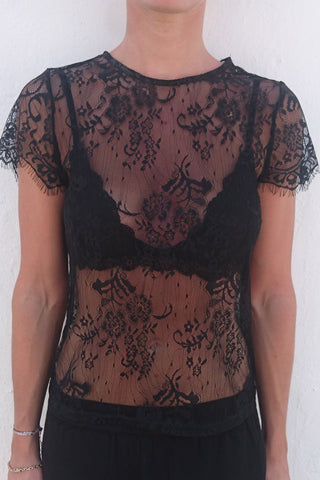 MICA Lace Tee - Sort