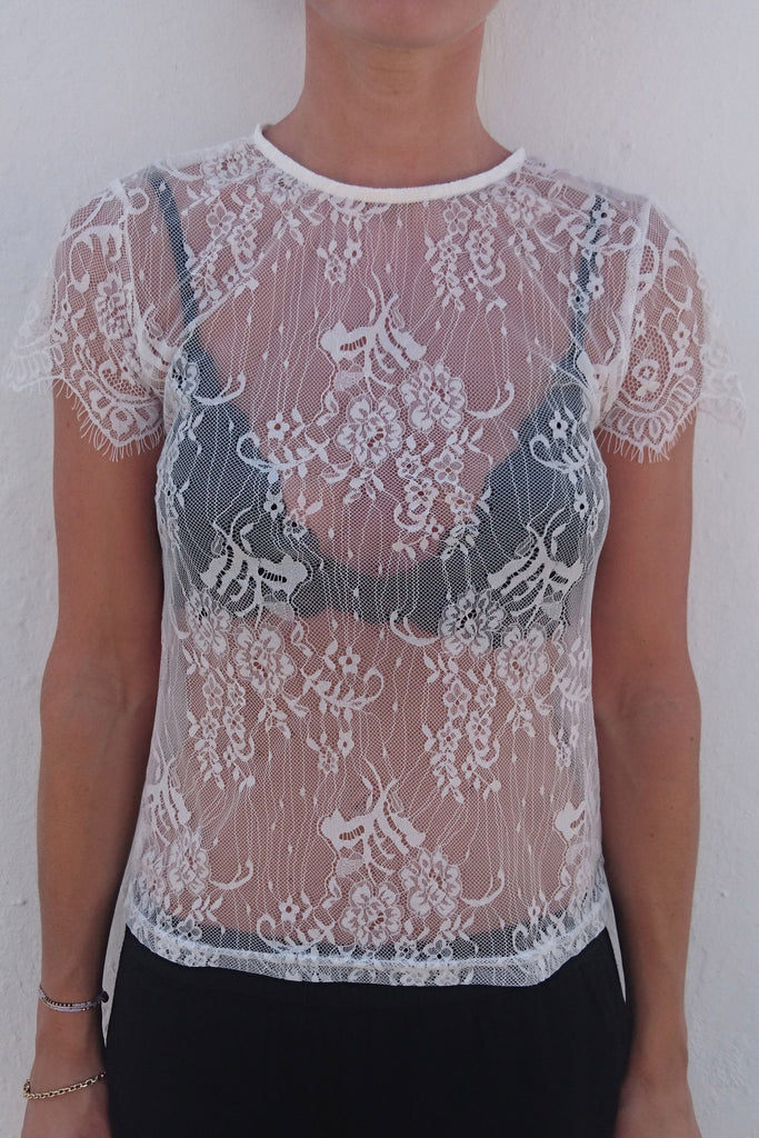 MICA Lace Tee - Hvid