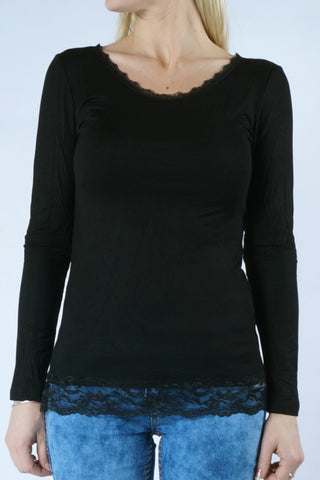 Sleeved Lace Blouse - Black