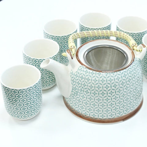 Green Mosaic Tea Pot Set