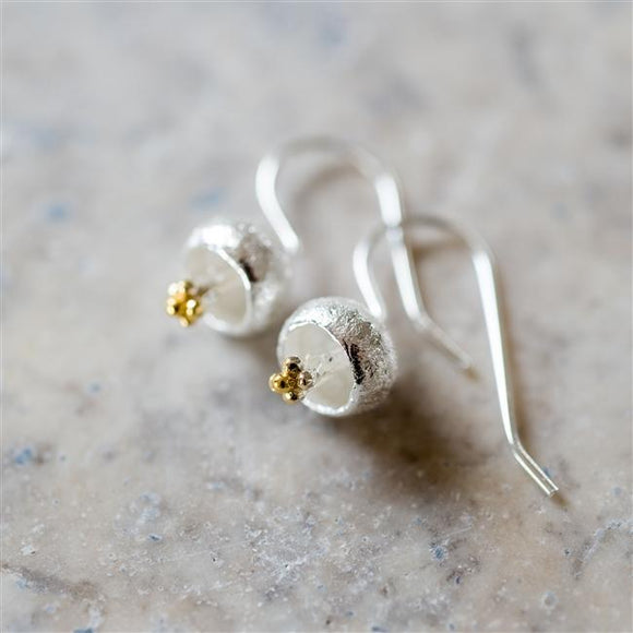 Sterling Droplet Flower Earrings