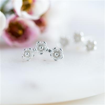 Sterling Wild Flower Stud Earrings