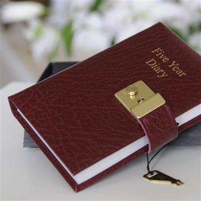 Office & Stationery > Diaries & Books > Diary > Locked Small Burgundy 5 Year Diary