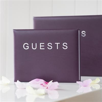 Office & Stationery > Diaries & Books > Guest book > Small Aubergine Guest Book