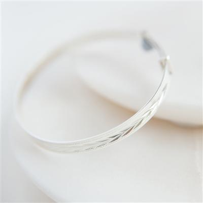Patterned Silver Christening Bangle