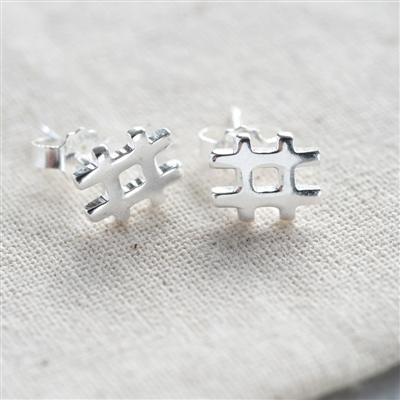 Sterling Hashtag Earrings