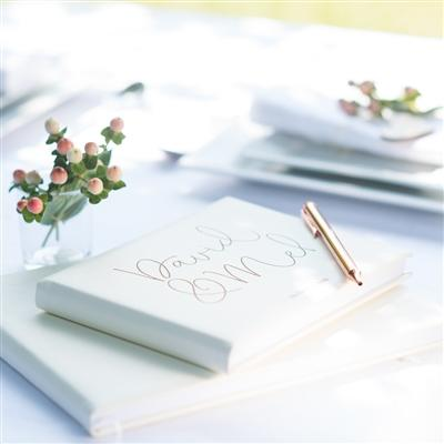 Ivory Personalised Leather Script Guest Book