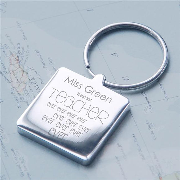 Bestest Teacher Ever Square Keyring