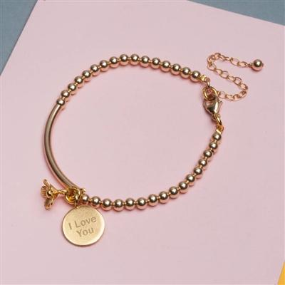 Yellow Gold Pendant Lobster Clip Bracelet