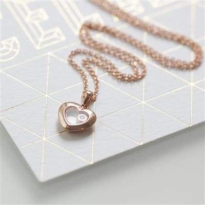 0.01ct Rose Gold Heart Floating Diamond Necklace