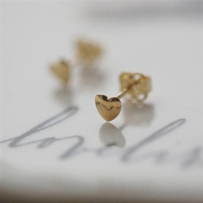 9ct Yellow Gold Teeny Tiny Heart Earrings
