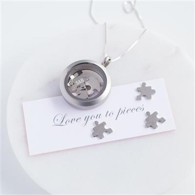 'Love You To Pieces' Silver Necklace
