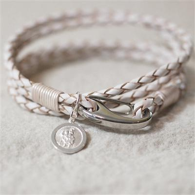 White St Christopher Wristband