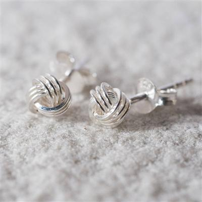 6mm Sterling Silver Tying The Knot Stud Earrings