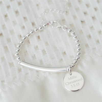 Pendant Christening Bracelet With Extender Chain