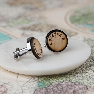 Wooden Coordinate Cufflinks