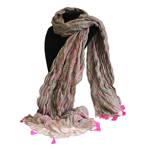 Fashion Accessories > Hats & Scarves > Scarves > Antique Tasseled Scarf - Rose