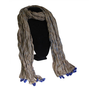 Fashion Accessories > Hats & Scarves > Scarves > Antique Tasseled Scarf - Blue