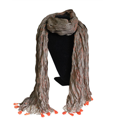 Fashion Accessories > Hats & Scarves > Scarves > Antique Tasseled Scarf - Orange