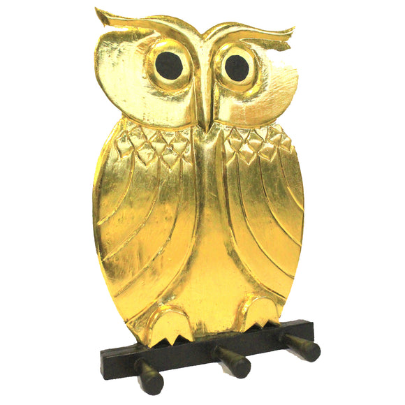 Home > Home > Home Misc. > Wooden Coat Hanger - Owl Gold